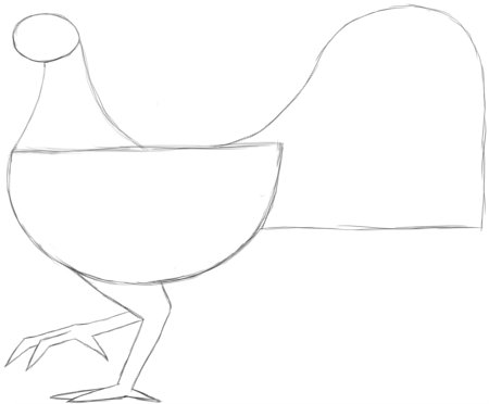 Draw  ROOSTER Simple Legs