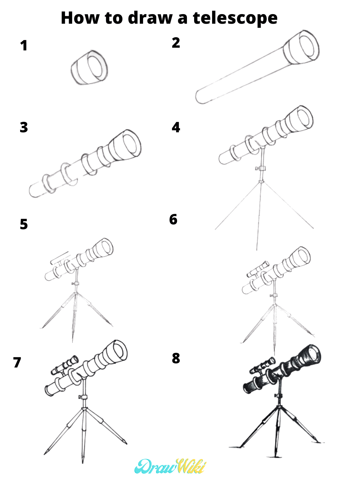 How to draw a telescope easy step by step guide