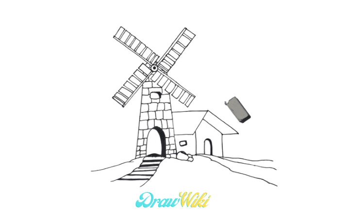 How To Draw a Windmill Step 14
