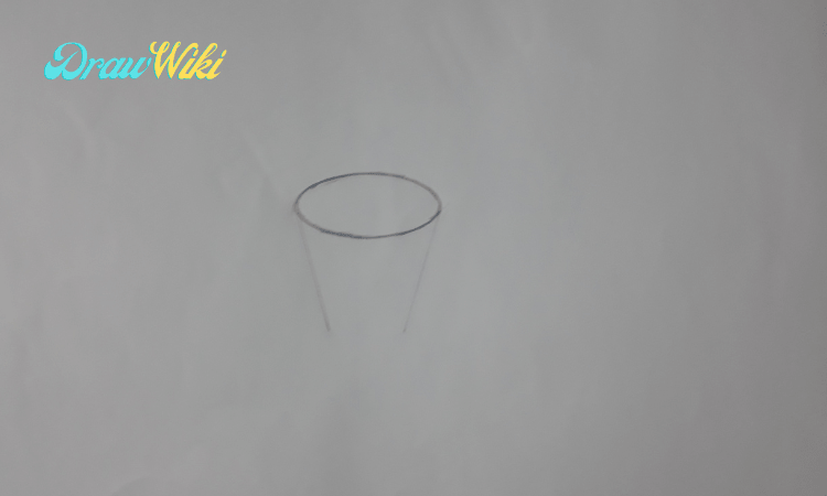 How to draw a flower with pot step 2