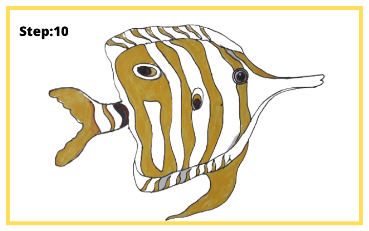 How to draw Butterflyfish  step 10