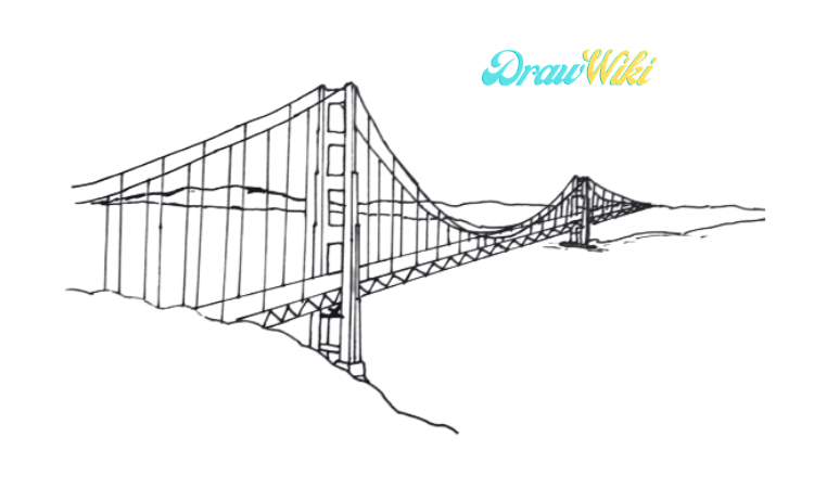 How To Draw Golden Gate Bridge Step 10