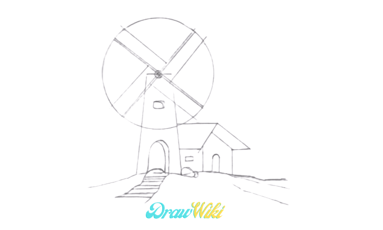 How To Draw a Windmill Step 12