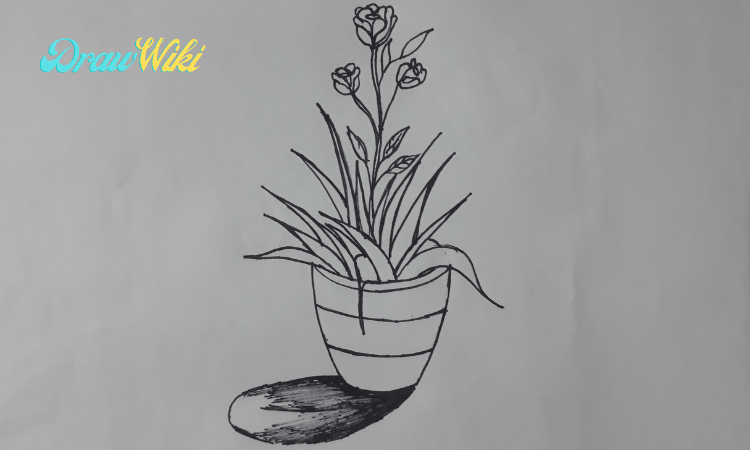 How to draw a flower with pot step 11
