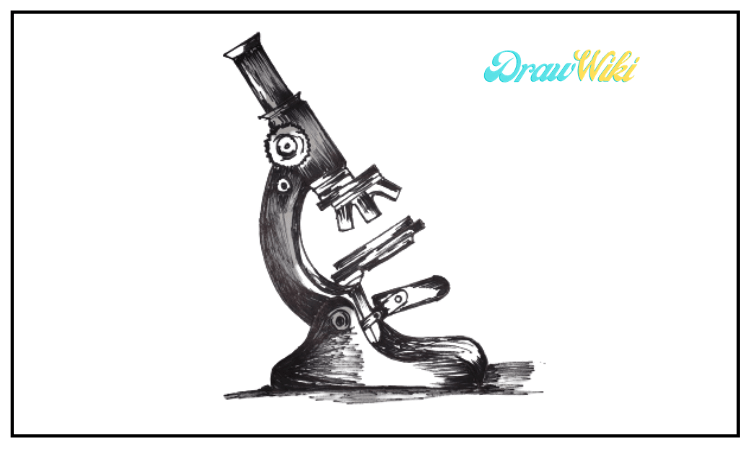 How to draw a microscope step 11
