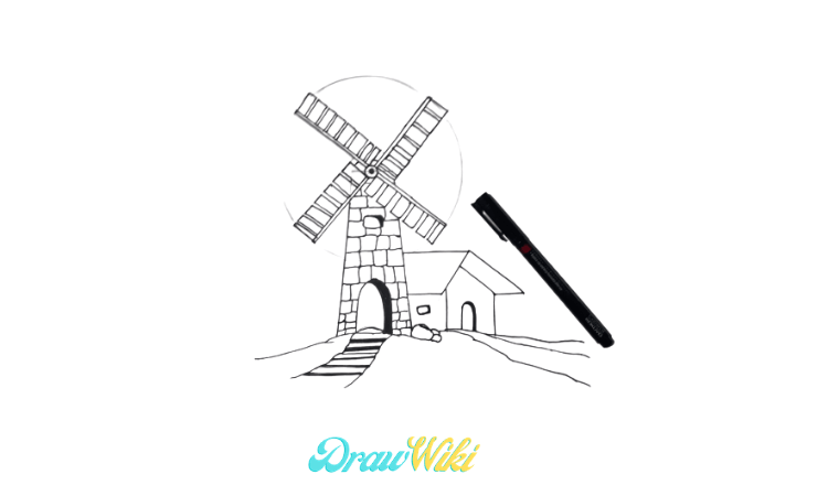 How To Draw a Windmill Step 13