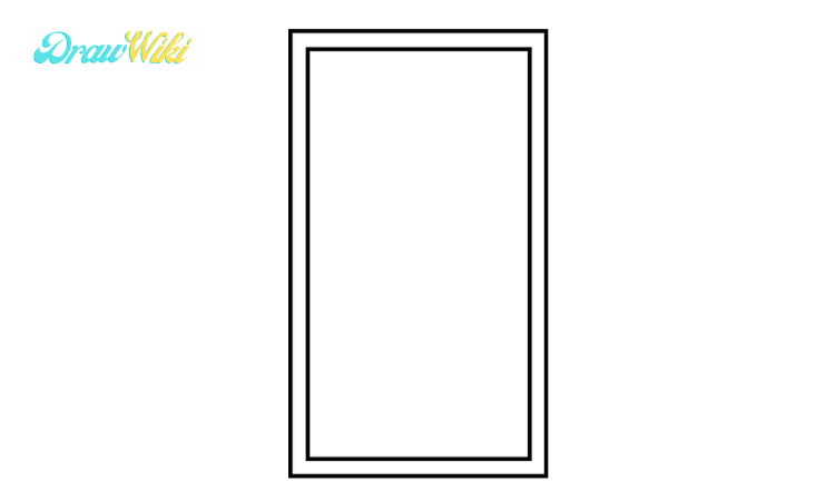 How to draw a Closed ordinary door step2