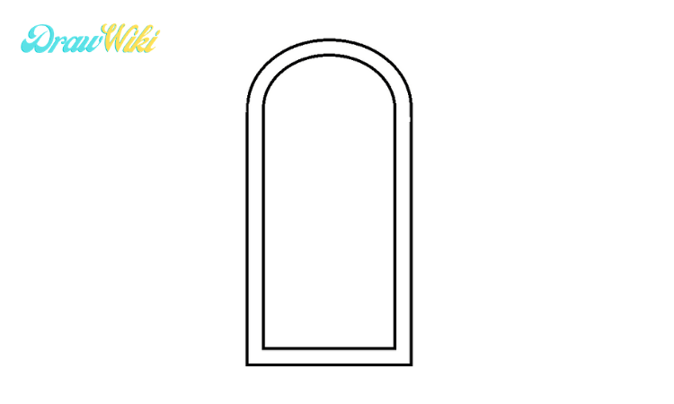 How to draw a round Closed-door step2