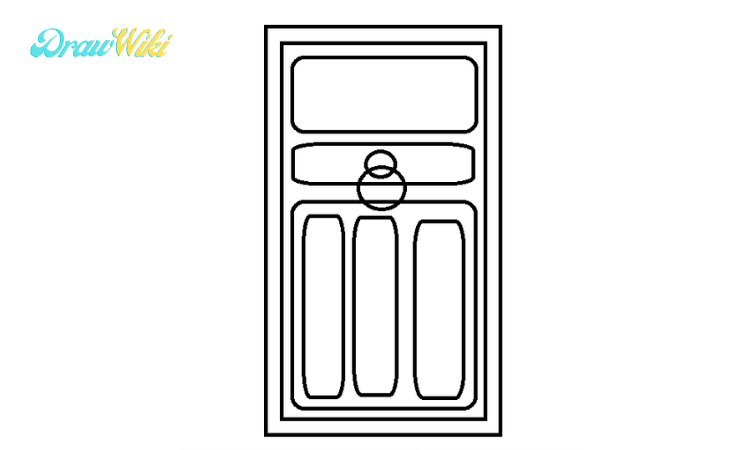 How to draw a Closed ordinary door step3