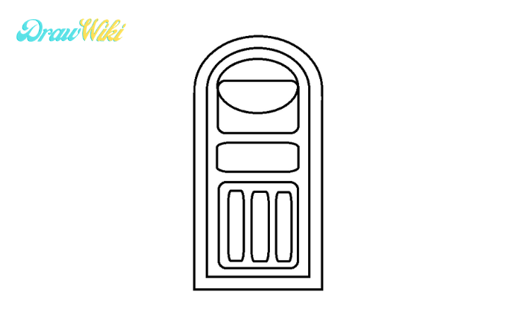 How to draw a round Closed-door step3