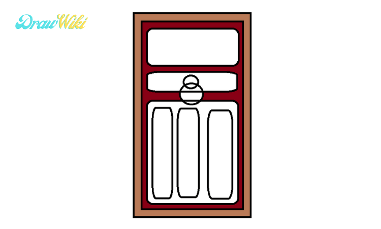 How to draw a Closed ordinary door step4