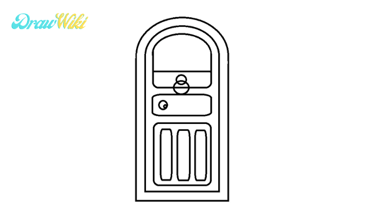 How to draw a round Closed-door step4