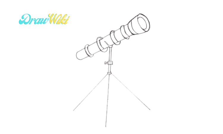 How to draw a telescope step 4