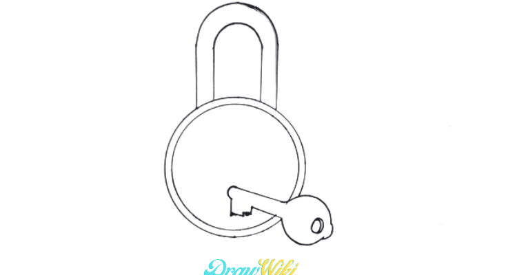 How To Draw A Lock And Key Step 5