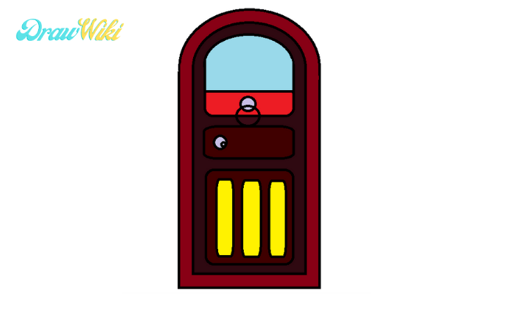 How to draw a round Closed-door step5