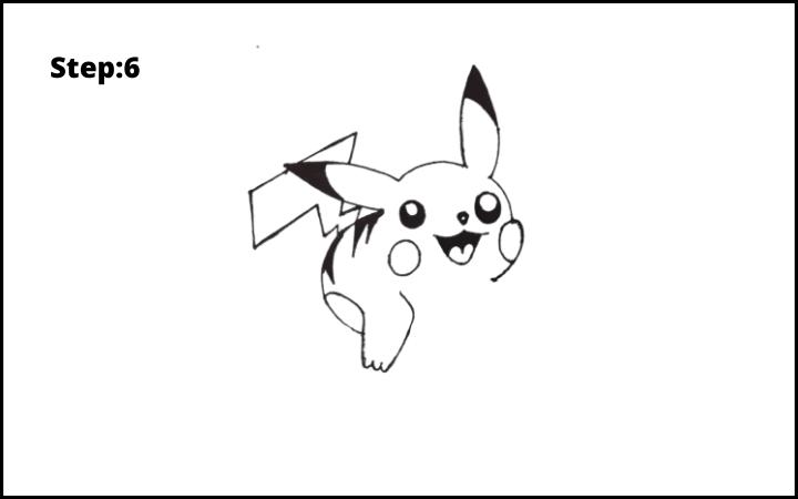 How to Draw Pikachu Pokemon STEP 6
