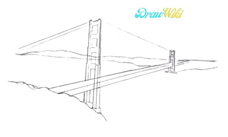 How To Draw Golden Gate Bridge Step 6