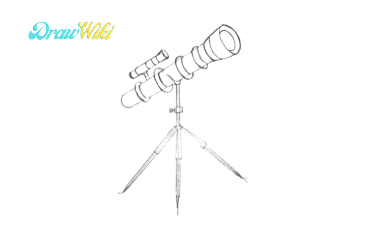 How to draw a telescope step 6