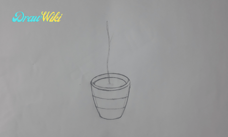 How to draw a flower with pot step 6