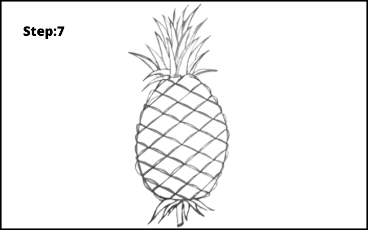 How to draw a pineapple step 7