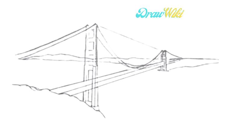 How To Draw Golden Gate Bridge Step 7