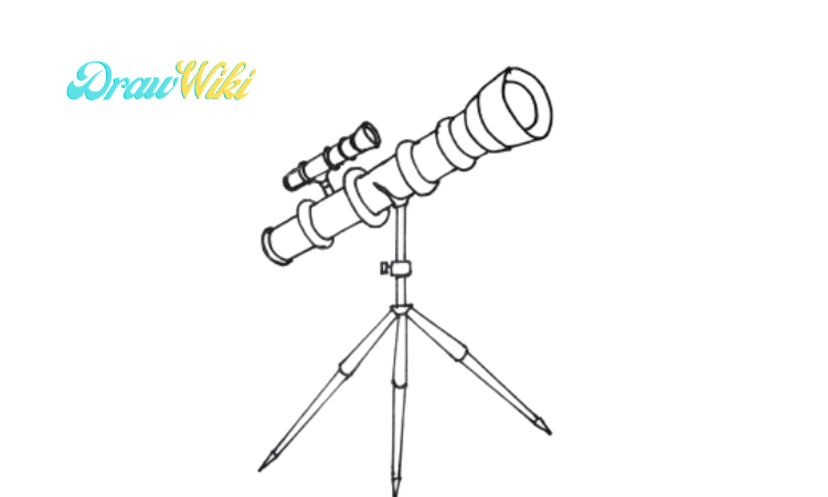 How to draw a telescope step 7