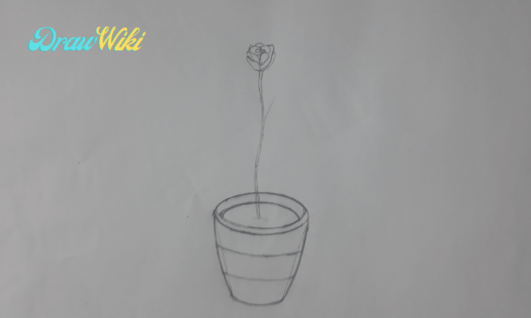 How to draw a flower with pot step 7