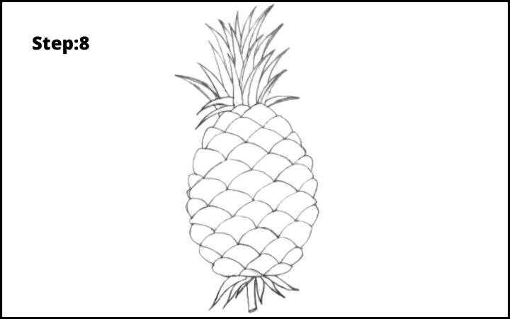 How to draw a pineapple step 8