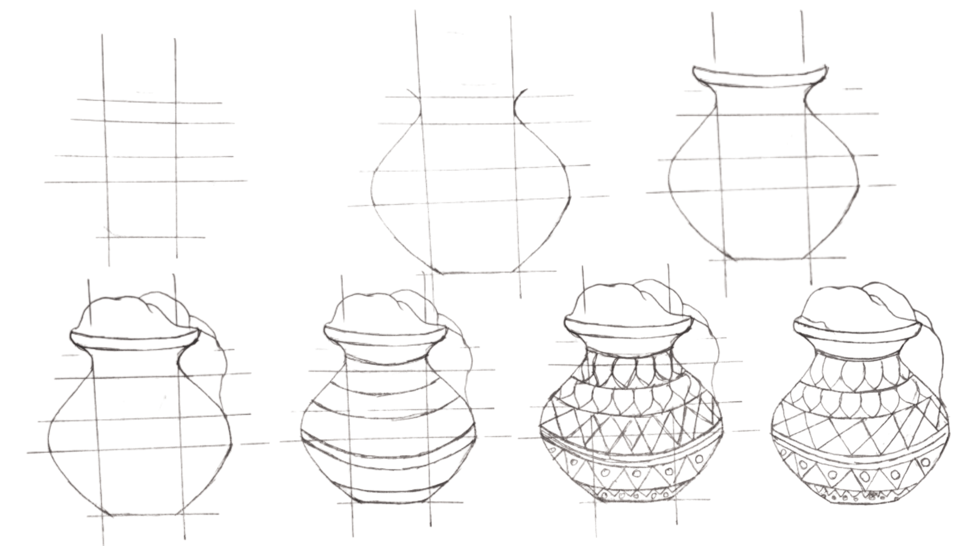 How To Draw Pongal Pot Easily Step By Step