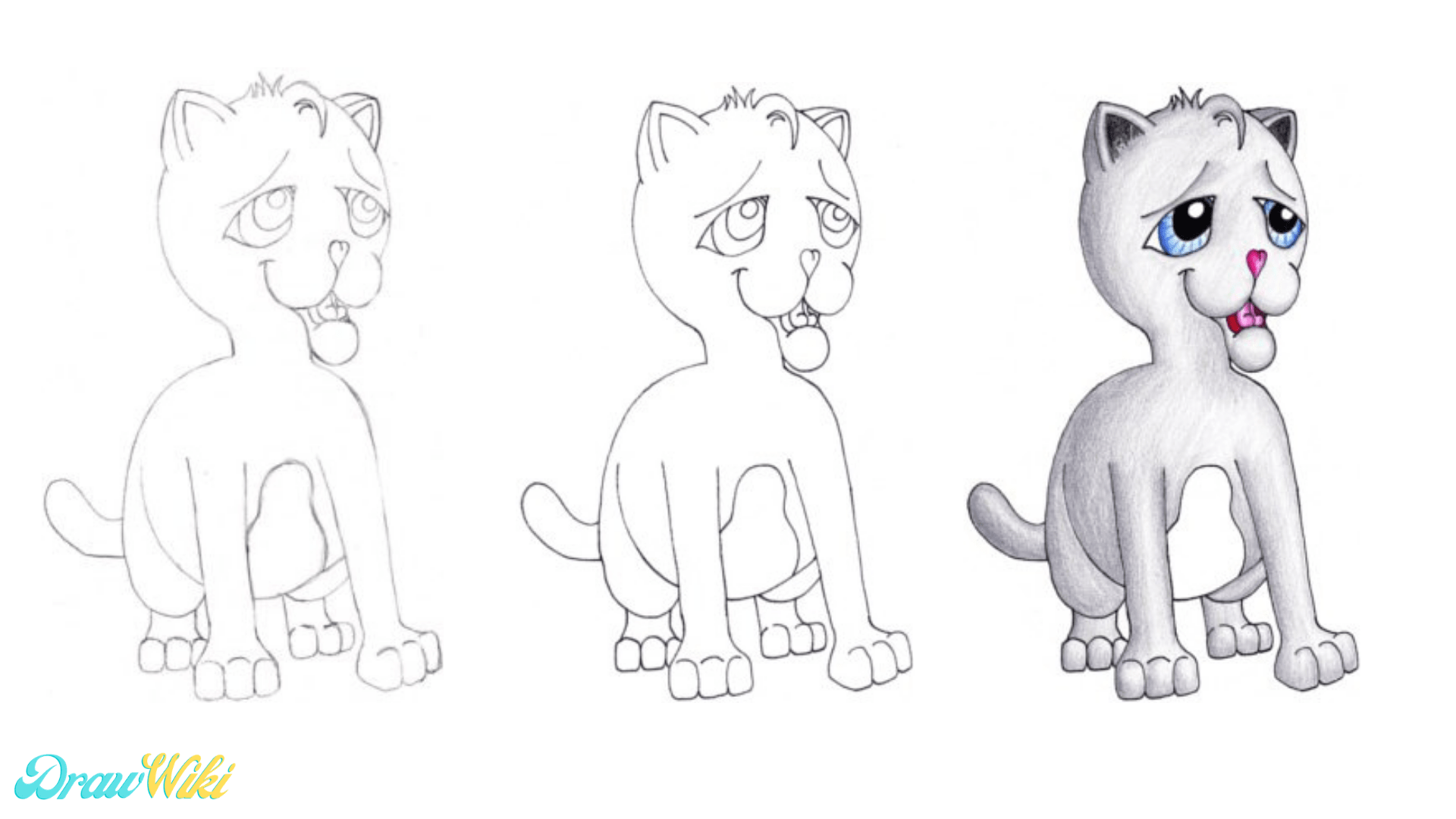 Step 8: Draw The Kittens Cartoon Fur Pattern, Inking, And Coloring