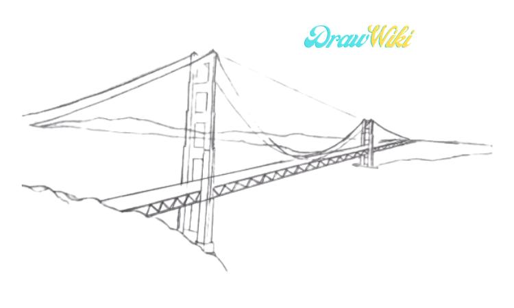How To Draw Golden Gate Bridge Step 8