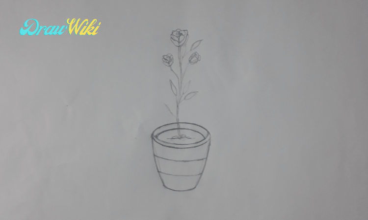 How to draw a flower with pot step 8