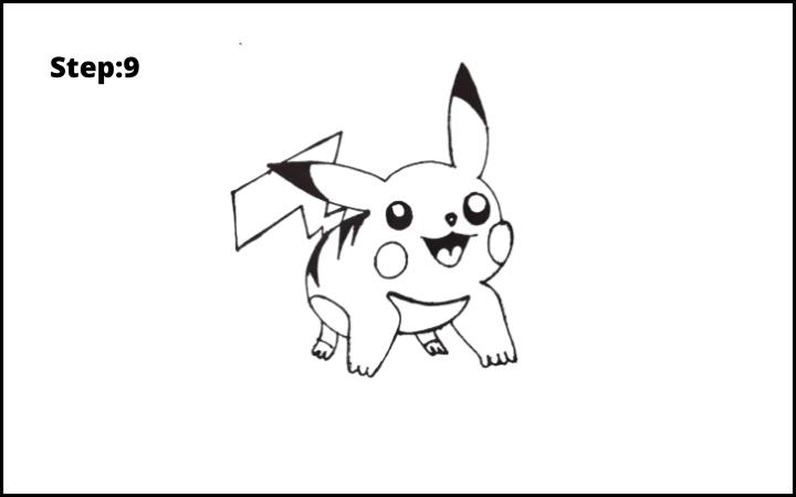 How to Draw Pikachu Pokemon STEP 9
