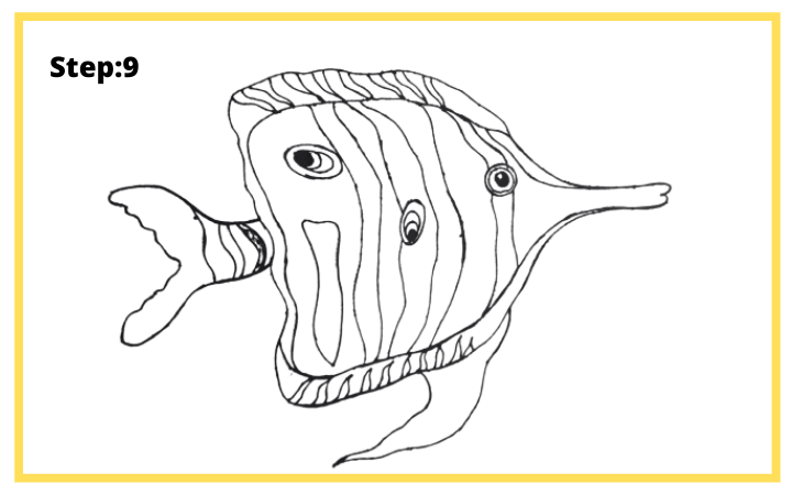 How to draw Butterflyfish  step 9