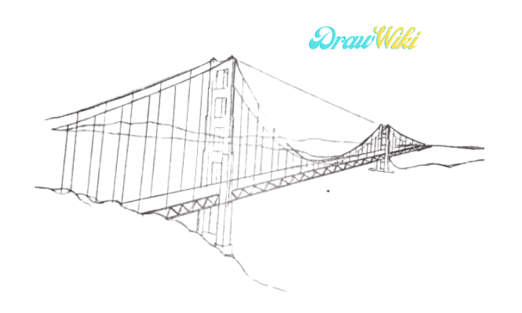 How To Draw Golden Gate Bridge Step 9
