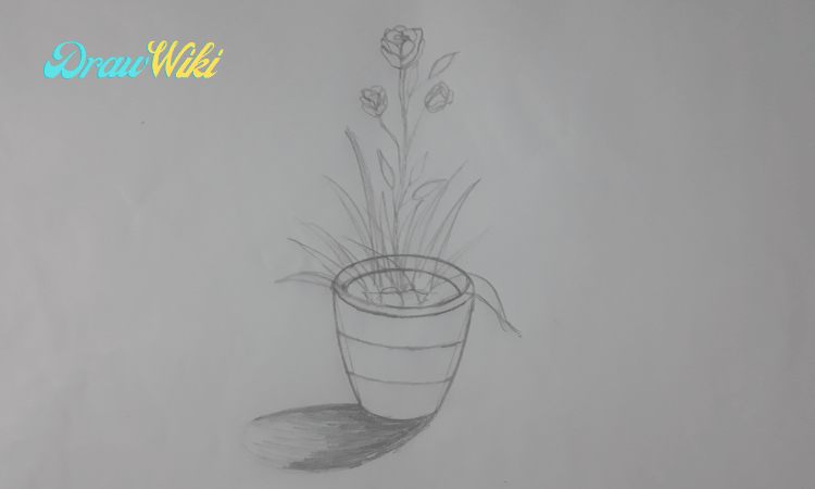 How to draw a flower with pot step 9