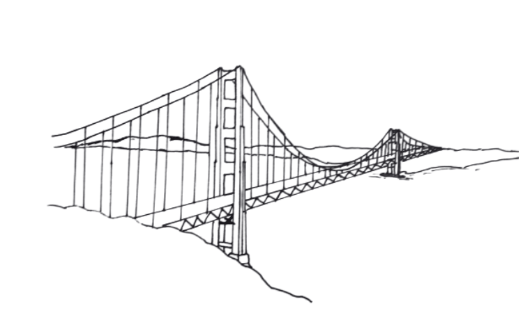How To Draw Golden  Gate  Bridge  Step by Step