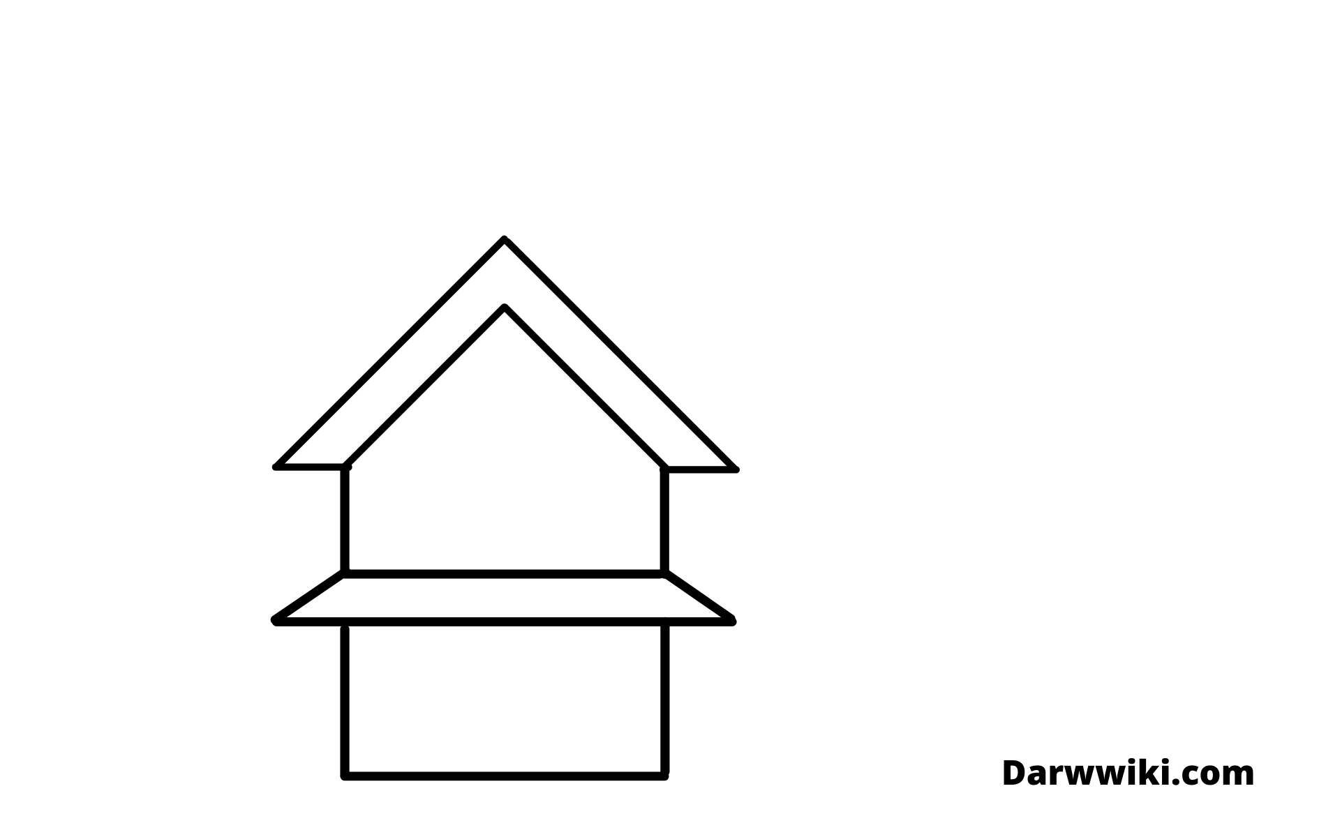 How to draw house Step 2- Draw First Part of the Wall Outline