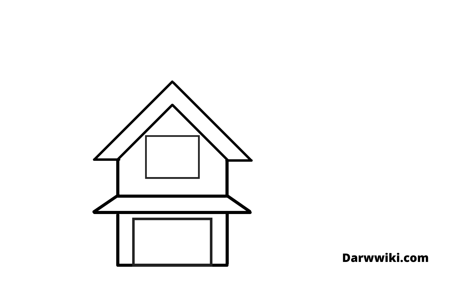 House drawing Step 3 - Draw First Part windows and Garage