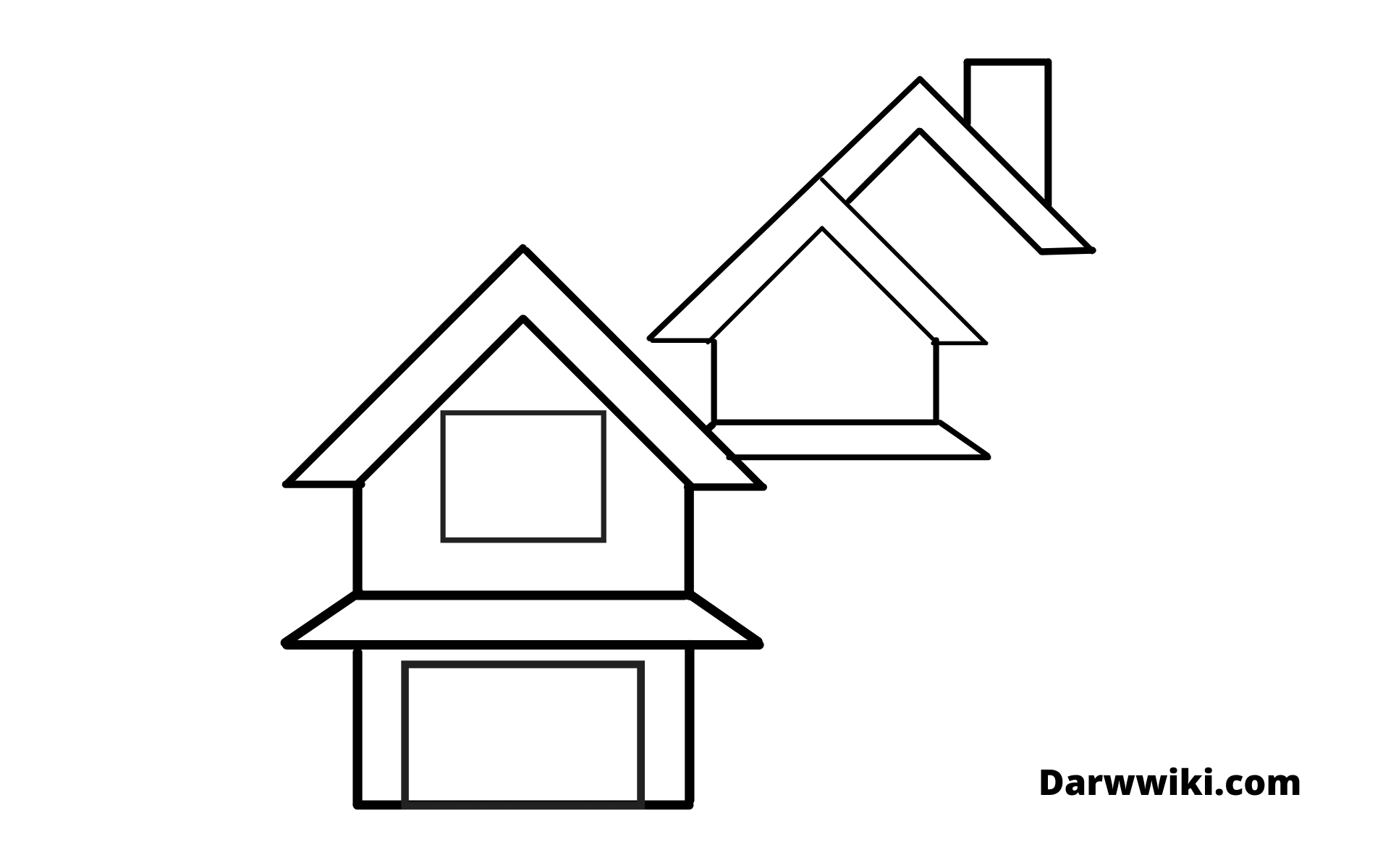 How to draw house Step 5 - Draw thirds Part of the House Roof