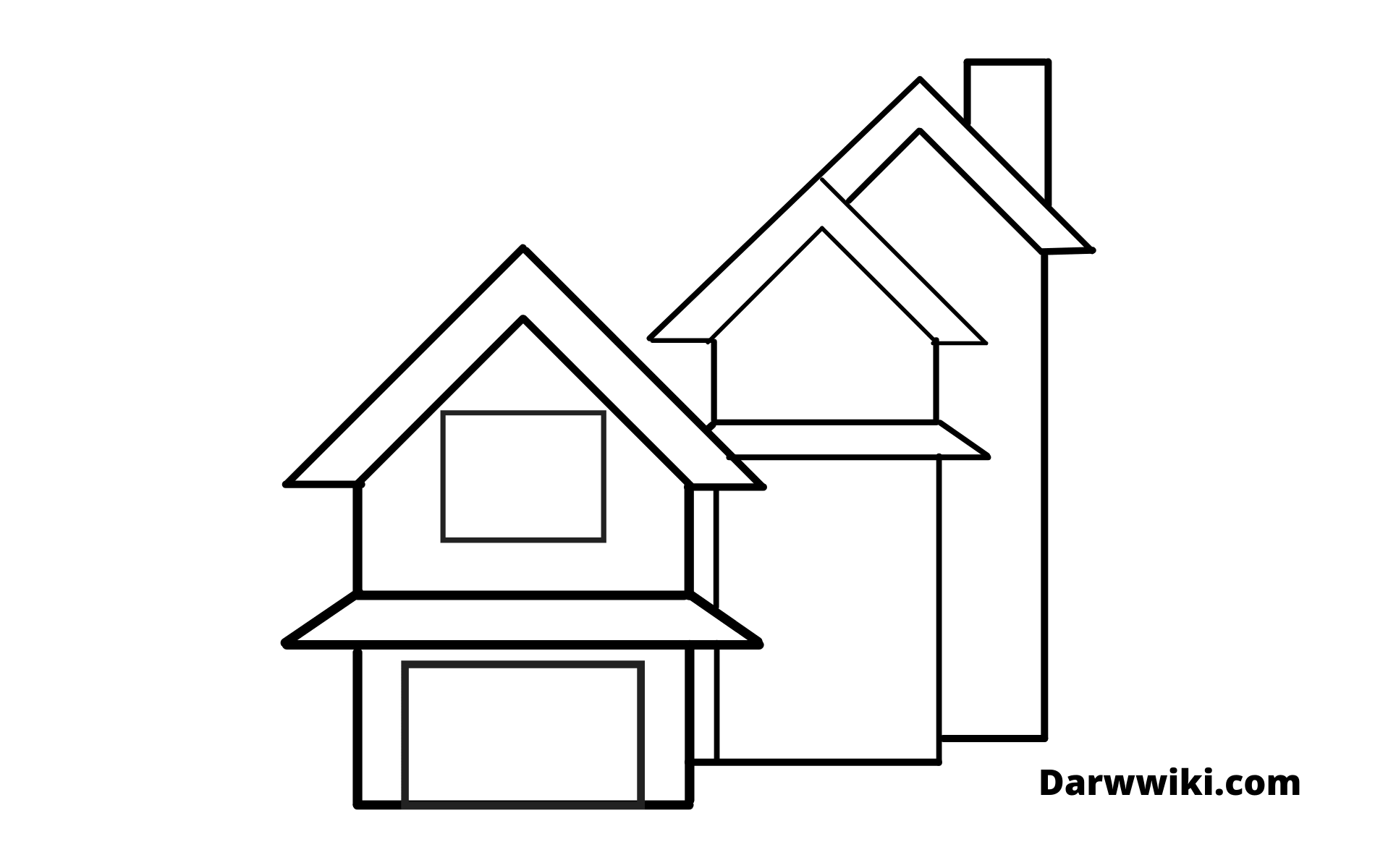 How To Draw House Step 6 - Draw the Chimney and Wall Outline