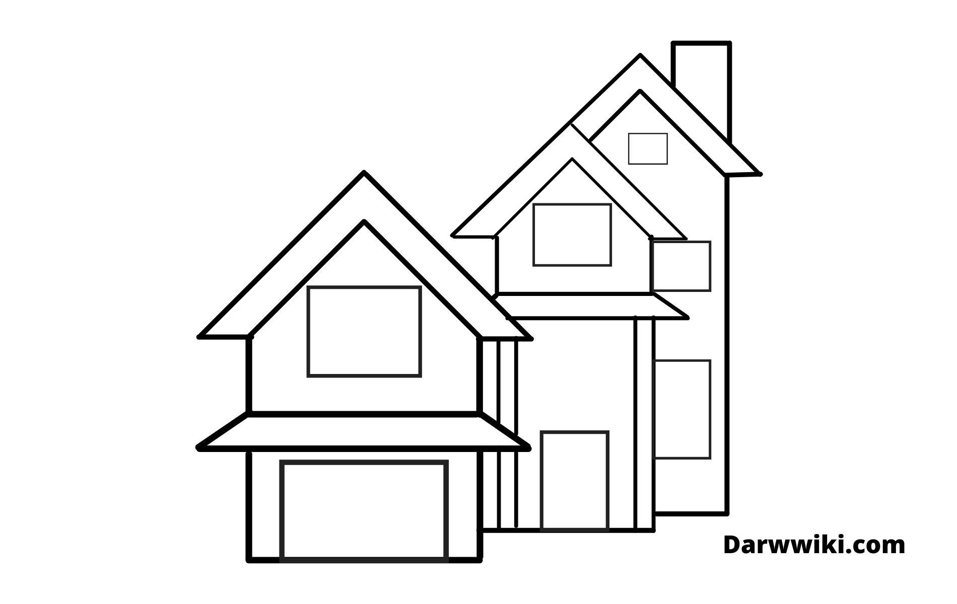 How To Draw House Step 7- Draw the Outlines of the Windows and Door