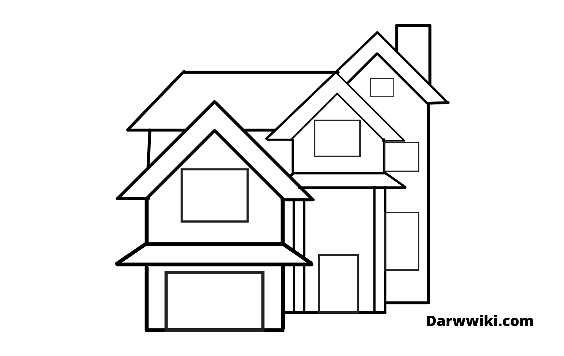 How To Draw House Step 8 - Draw Upper Roof