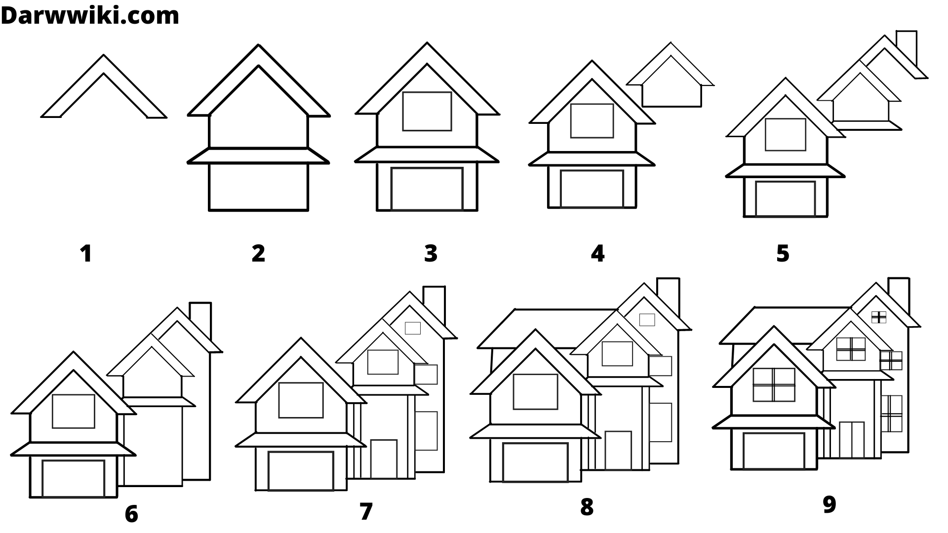 House drawing step by step, House Drawing ,Step by step house drawing